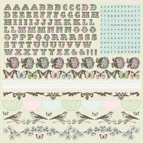Kaisercraft - Bonjour Collection - 12 x 12 Sticker Sheet - Alphabet