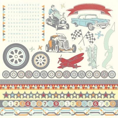 Kaisercraft - On the Move Collection - 12 x 12 Sticker Sheet