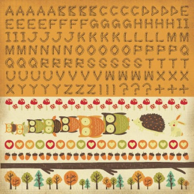 Kaisercraft - Tiny Woods Collection - 12 x 12 Sticker Sheet