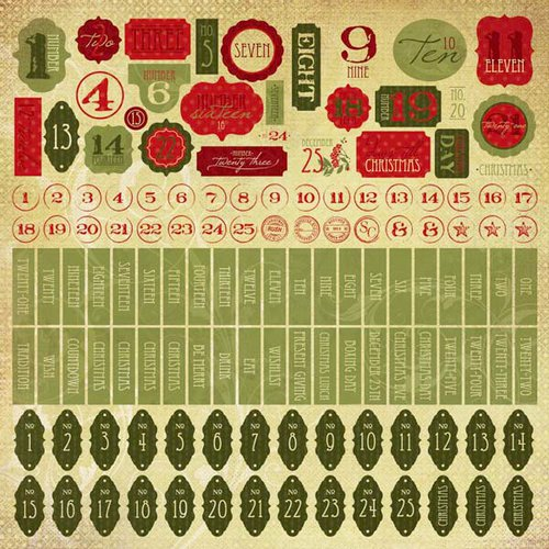Kaisercraft - Twig and Berry Collection - Christmas - 12 x 12 Sticker Sheet - Numbers