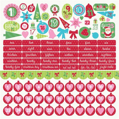 Kaisercraft - Mint Twist Collection - Christmas - 12 x 12 Sticker Sheet - Numbers