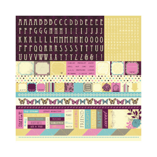 Kaisercraft - Botanical Odyssey - 12 x 12 Sticker Sheet - Alphabet