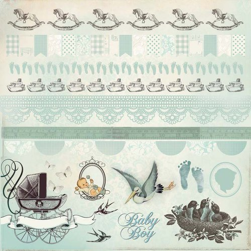 Kaisercraft - Bundle of Joy Collection - 12 x 12 Sticker Sheet - Boy