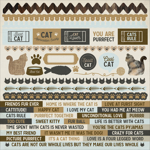 Kaisercraft - Pawfect Collection - 12 x 12 Sticker Sheet - Cat