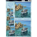 Kanban Crafts - All About Him Collection - Die Cut Punchouts and 8 x 12 Patterned Cardstock - Mare Blu