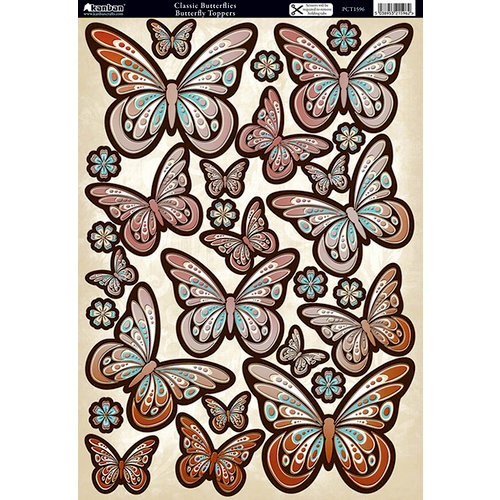 Kanban Crafts - Classic Butterflies Collection - Die Cut Punchouts with Foil Accents - Vintage Butterflies