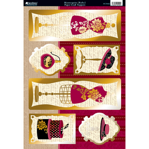 Kanban Crafts - Shabby Chic Collection - Die Cut Punchouts with Foil Accents - Mannequin - Ruby