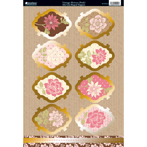 Kanban Crafts - Shabby Chic Collection - Die Cut Punchouts with Foil Accents - Vintage Flowers - Pink