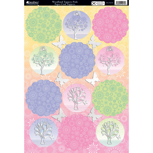 Kanban Crafts - Seasons Collection - Die Cut Punchouts with Foil Accents - Woodland Toppers Pink