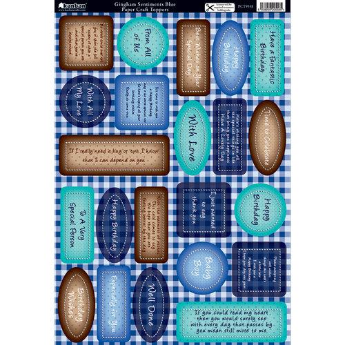 Kanban Crafts - Die Cut Punchouts with Foil Accents - Gingham Setiments - Blue