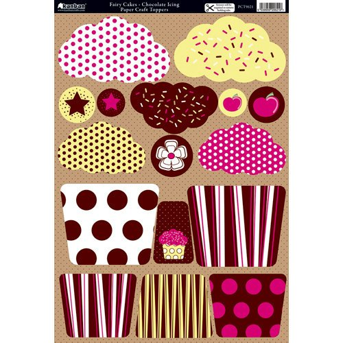 Kanban Crafts - All About Her Collection - Die Cut Punchouts and 8 x 12 Patterned Cardstock - Fairy Cakes - Chocolate Icing