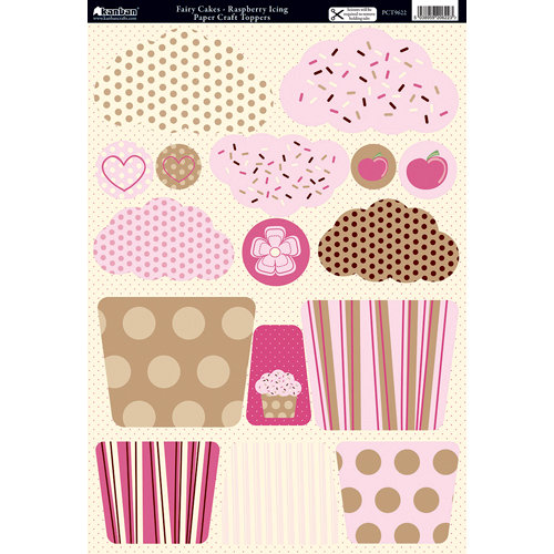 Kanban Crafts - All About Her Collection - Die Cut Punchouts and 8 x 12 Patterned Cardstock - Fairy Cakes - Raspberry Icing