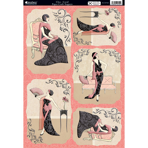 Kanban Crafts - Mitford Collection - Die Cut Punchouts with Foil Accents - Cleo - Coral