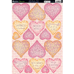 Kanban Crafts - Mitford Collection - Die Cut Punchouts with Foil Accents - Bella Hearts - Pink