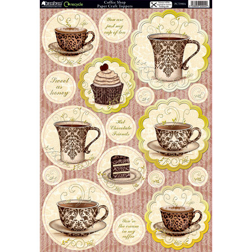 Kanban Crafts - Cafe Collection - Die Cut Punchouts with Foil Accents - Coffee Shop