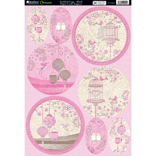 Kanban Crafts - Free as a Bird Collection - Die Cut Punchouts and 8 x 12 Patterned Cardstock - Gilded Cage - Blush