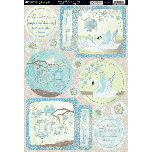 Kanban Crafts - Free as a Bird Collection - Die Cut Punchouts and 8 x 12 Patterned Cardstock - Tranquil Waters - Sky