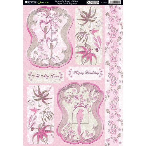 Kanban Crafts - Free as a Bird Collection - Die Cut Punchouts and 8 x 12 Patterned Cardstock - Beautiful Birds - Blush