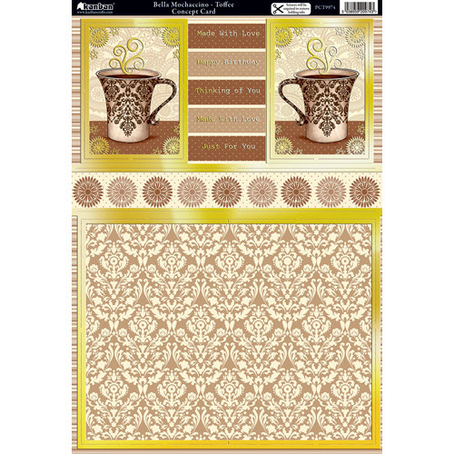 Kanban Crafts - Cafe Collection - Die Cut Concept Card Kit with Foil Accents - Bella Mochaccino - Toffee
