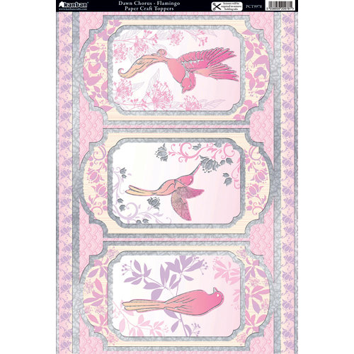 Kanban Crafts - Free as a Bird Collection - Die Cut Punchouts with Foil Accents - Dawn Chorus - Flamingo