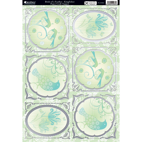 Kanban Crafts - Free as a Bird Collection - Die Cut Punchouts with Foil Accents - Kingfisher