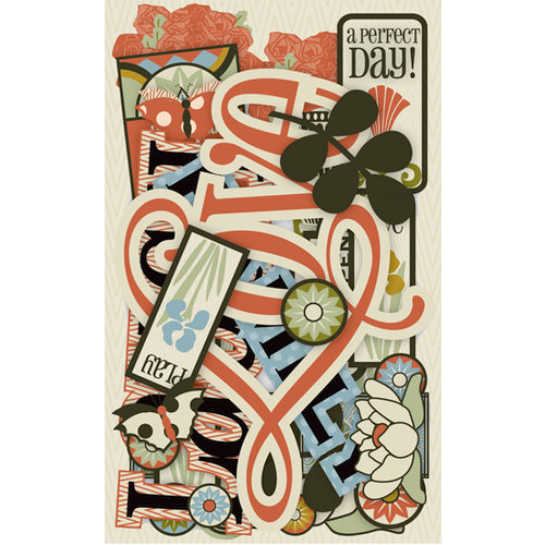 K and Company - Eco-Modern Collection - Die Cut Cardstock Pieces - Words and Icons, CLEARANCE