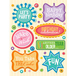 K and Company - Confetti Collection - Grand Adhesions Stickers with Glitter and Gem Accents - Birthday Words