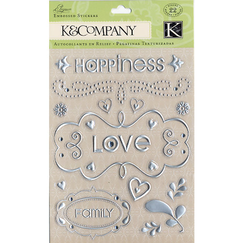 K and Company - Elegance Collection - Foil Embossed Stickers - Words and Swirls  , CLEARANCE