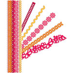K and Company - Sheer Simplicity Collection - Adhesive Paper Borders with Glitter Accents - Red, CLEARANCE