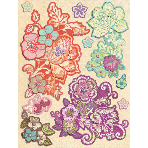K and Company - Jubilee Collection - Grand Adhesions Stickers with Foil and Gem Accents - Floral, CLEARANCE