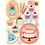 K and Company - Confetti Collection - Grand Adhesions with Glitter Accents - Cake, CLEARANCE