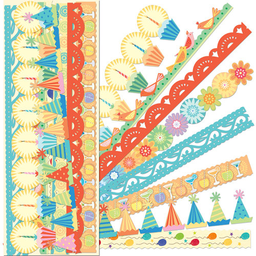 K and Company - Confetti Collection - Adhesive Borders with Glitter Accents
