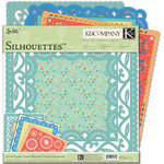 K and Company - Confetti Collection - 12 x 12 Silhouettes Die Cut Paper Pack with Glitter Accents
