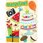 K and Company - Confetti Collection - Grand Adhesion Stickers with Glitter Accents - All Kids Birthday