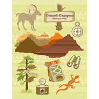 K and Company - Happy Trails Collection - Grand Adhesions Stickers - Grand Canyon