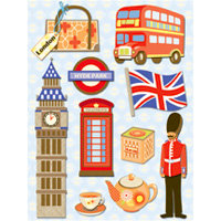 K and Company - Happy Trails Collection - Grand Adhesions Stickers - London, CLEARANCE