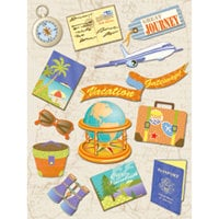 K and Company - Happy Trails Collection - Grand Adhesions Stickers - Passport Travel