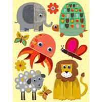 K and Company - Actopus to Zelephant Collection - Grand Adhesions Stickers - Felt Animal, CLEARANCE