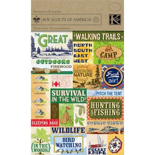 K and Company - Boy Scouts of America Collection - Embossed Stickers - Outdoor Camping and Survival