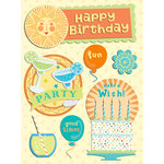 K and Company - Confetti Collection - Adhesive Chipboard with Glitter Accents - Words