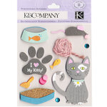 K and Company - 3 Dimensional Stickers with Gem and Yarn Accents - Kitty Love