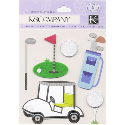 K and Company - 3 Dimensional Stickers with Felt and Epoxy Accents - Golf