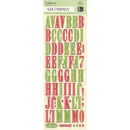 K and Company - Yuletide Collection - Christmas - Die Cut Stickers with Glitter Accents - Alphabet