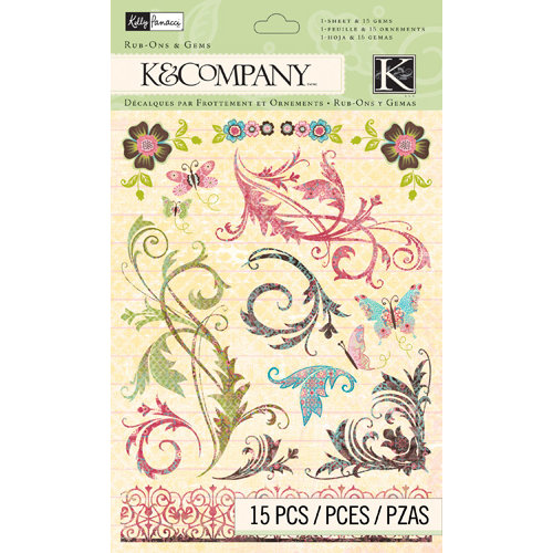 K and Company - Blossom Collection - Rub Ons with Gems - Swirl