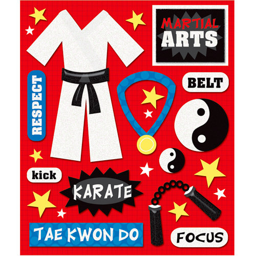 K and Company - Life's Little Occasions Collection - 3 Dimensional Stickers  with  Epoxy and Glitter Accents - Martial Arts