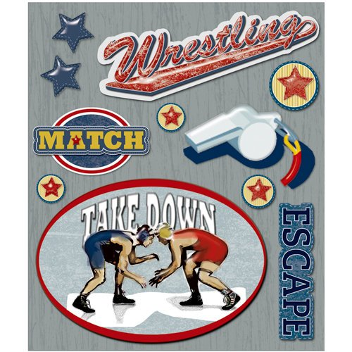 K and Company - Life's Little Occasions Collection - 3 Dimensional Stickers  with  Epoxy Accents - Wrestling