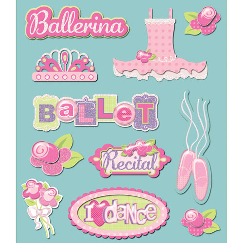 K and Company - Life's Little Occasions Collection - 3 Dimensional Stickers  with  Glitter and Epoxy Accents - Ballet