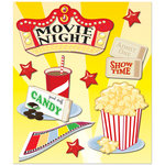 K and Company - Life's Little Occasions Collection - 3 Dimensional Stickers with Epoxy and Glitter Accents - Movie Night