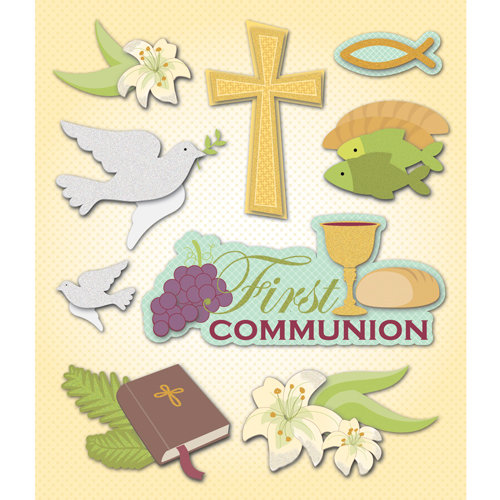 K and Company - Life's Little Occasions Collection - 3 Dimensional Stickers  with  Epoxy and Glitter Accents - First Communion