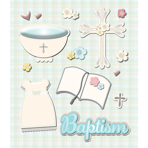 K and Company - Life's Little Occasions Collection - 3 Dimensional Stickers with Epoxy and Glitter Accents - Baptism
